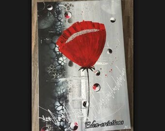 Red flower, black and red, wall painting abstract, modern painting