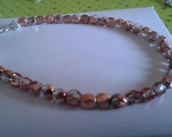 beaded bracelet two-tone copper and transparent