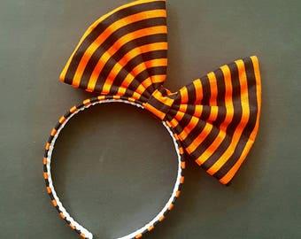 Halloween oversized bow, orange and black striped bow