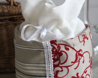 Pouch made of French ticking striped blue, beige, flocked velvet flowers linen canvas, white lace