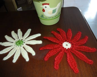 set of two flowers crocheted with wool - new
