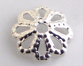 Bead caps 6mm silver metal. Set of 10