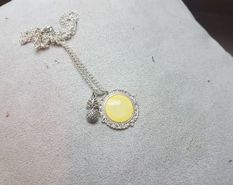Silver summer necklace young pineapple