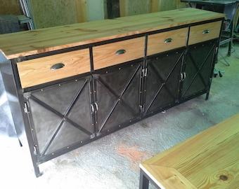 Furniture sideboard 4 industrial steel doors