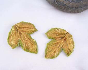 2 textured gold Ivy leaves