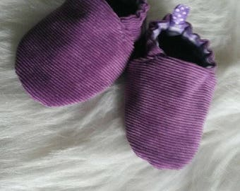 Velvet and purple gingham cotton baby shoes