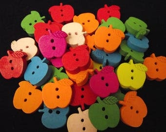 Set of 50 buttons, wooden, multicolor Apple shape. 17 mm long X 16 mm wide.