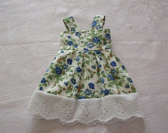 "cotton dress for cherished dolls (flower, liberty style with ""broderie anglaise"" print)"