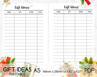Gift ideas Printable, Gift ideas List, A5, Gift ideas Page, Digital Planner Page, Double-sided Printing, PDF