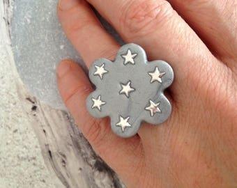Starry grey flower silver ring