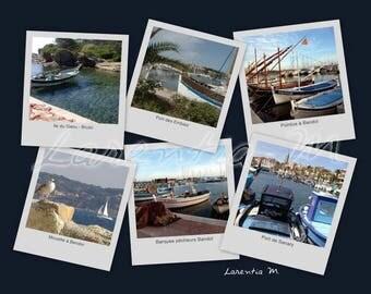 Photo 30X40cm memory Ports and boats around Bandol Var