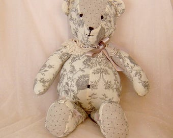 Bear charm collection toile de jouy - rose fabric