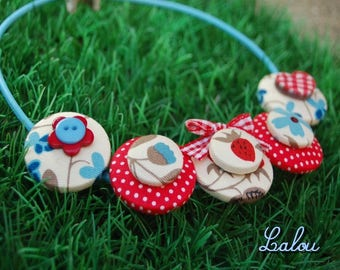 """All buttoned collar """"Strawberries in my garden"""""""