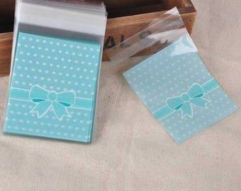 10 plastic self-adhesive blue polka dots bow