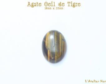 """Cabochon oval Agate """"Eye of Tiger"""" 13mm x 18mm"""