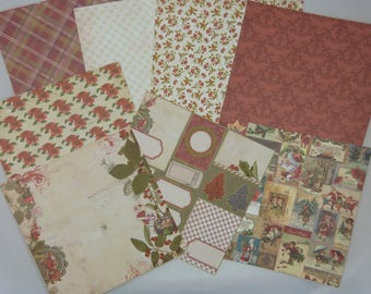 Assortment of vintage Christmas paper textured