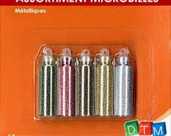 Set of 5 mini bottles - metallic beads