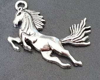 large Pendant (x 2) silver plated horse charm