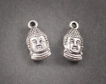 2 pcs - charm, pendant, Buddha head silver 15mm x 8mm • •