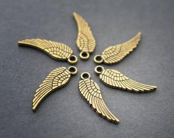 6pcs - brass, wings, pendants charms - 17mm x 5mm