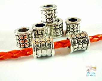 6 beads tubes for cord 4mm, silver metal (pm126)