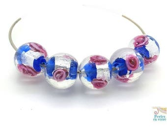 5 beads 12mm, dark blue lampwork glass, silver foil and pink flowers (pv605)