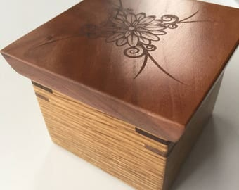 Decorative Dice / Accent / Gift wooden box with engraved flower design.
