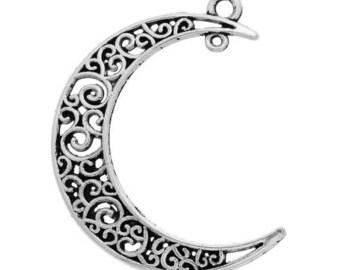 5 pendants charms Moon 3 x 4 cm