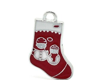 1 snow Christmas stocking charm