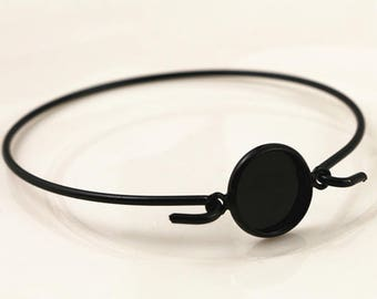 1 bracelet 12 mm black cabochon