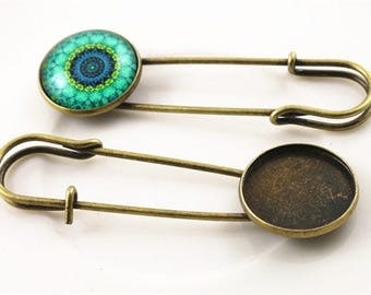 20 mm / 5 holders for cabochon 20 mm brooch