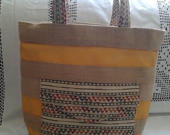 Yellow leatherette handbag