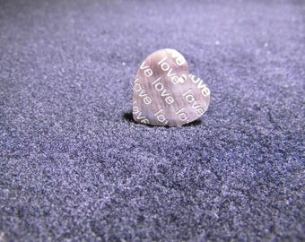 sequin Pearl Heart Charm pendant 20mm natural