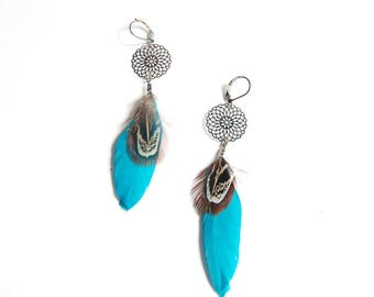 Shaman - Blue turquoise feather earrings