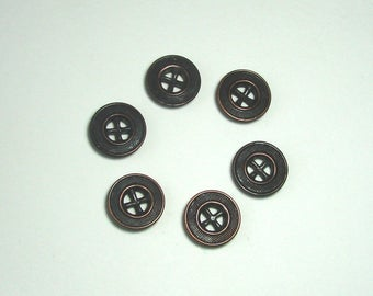 Set of 6 metal buttons, round, 17 mm, bronze, 4 holes.