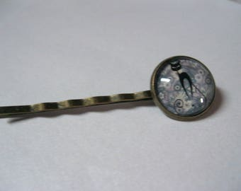 "Barrette or hair clip bronze with cabochon 16mm glass ""Liberty cat"""