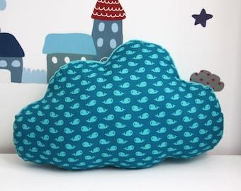 BIG cloud cushion green-blue print whale 49 x 35 cm
