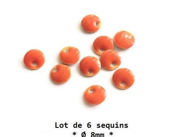 8mm - set of 6 Tangerine Orange sequins