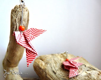 Red dove Origami earrings