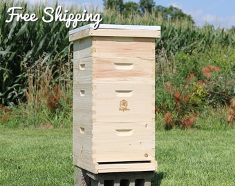 Bee Hive 8 Frame Langstroth - (2) Deep Brood Boxes & (2) Medium Super Boxes includes Frames / Foundations