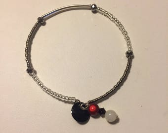 Silver beads and sequin Bangle Bracelet