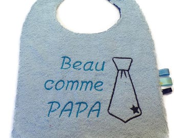 """Handsome like Daddy"" embroidered bib tie"