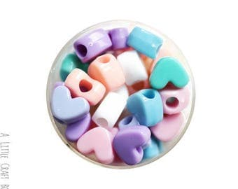Heart - plume of pastel 20 beads