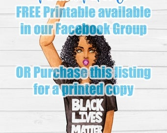 Planner Girl Stickers- Sasha, Black Lives Matter, African American, Curly Hair, Die-cut, Black, PoC, Erin Condren, Bujo, Happy Planner