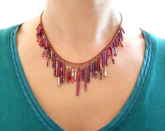"Ethnic necklace plume ""ALADDIN"" eco - design 2015"