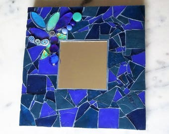 Blue mirrored tile shades