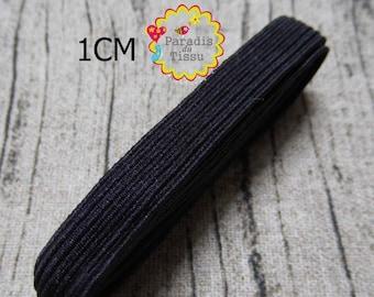1 m elastic tape 1 cm width black seam