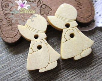 5 x buttons round Frome wood Hat girl
