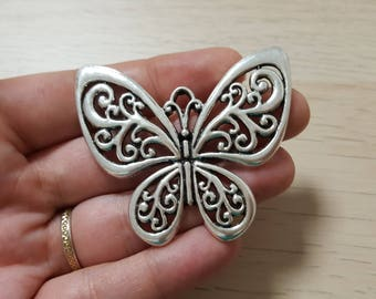 50mm antique silver Butterfly pendant