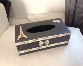 Paris... Paris black grey beige tissue box